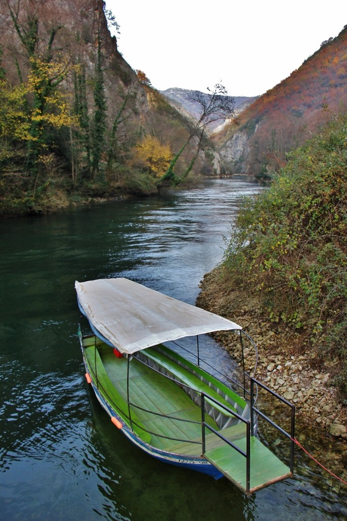 Boat on Treska River in Matka Canyon, Skopje, Macedonia