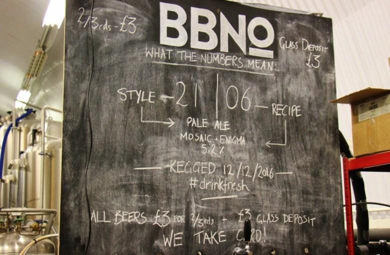 Brew By Numbers Chalkboard, Bermondsey Beer Mile, London Craft Beer Crawl