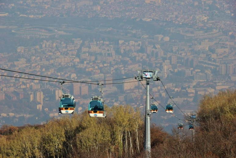 Cable Cars carry visitors to the Millennium Cross at top of Vodno Mountain, Skopje, Macedonia