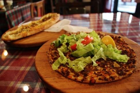 Turkish pizza, Lahmacum, at Galerija 7 in Skopje, Macedonia