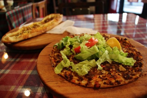 Turkish pizza, Lahmacum, at Galerija 7 in Skopje, Macedonia
