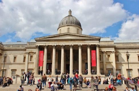 The National Gallery building on Trafalgar Square in London, England, jetsettingfools.com