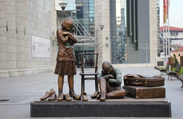 Statue at entrance of Holocaust Museum, Skopje, Macedonia