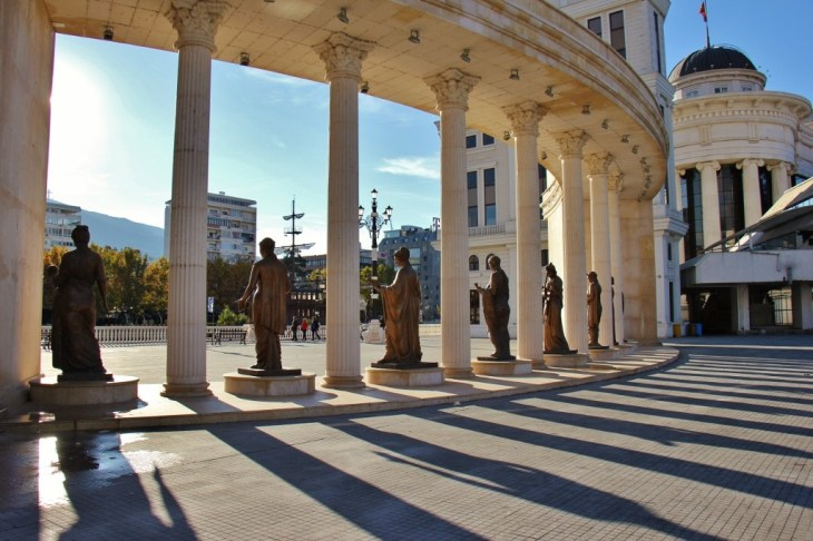 Long shadows from statues on Mother Teresa Square, Skopje, Macedonia