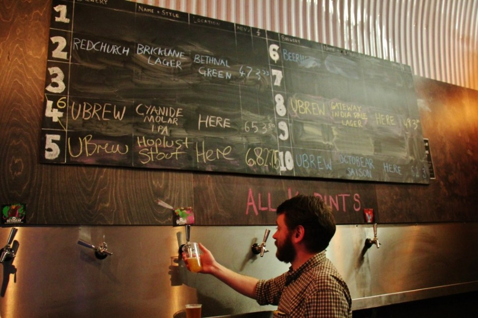 Bartender pours beer at UBREW Taproom, Bermondsey Beer Mile, London Craft Beer Crawl