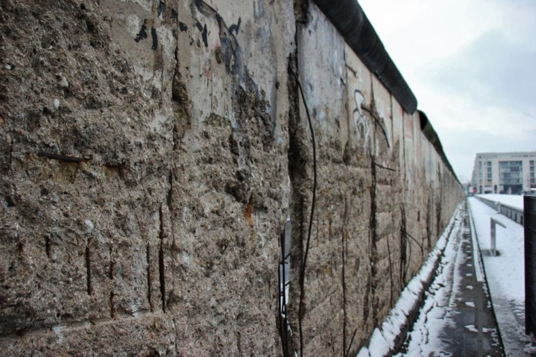 The Berlin Wall still stands at the Topography of Terror Museum in Berlin, Germany