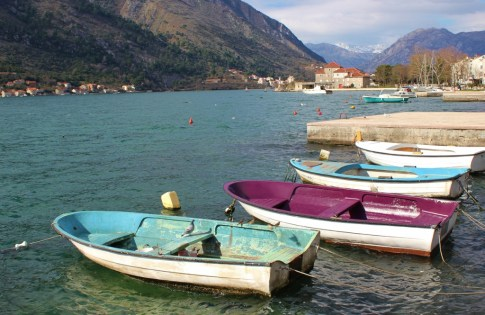 Colorful fishing boats on Bay of Kotor, Kotor, Montenegro