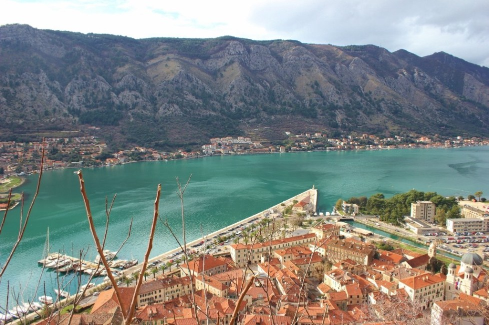 View of Kotor, Montenegro while climbing the path along the walls