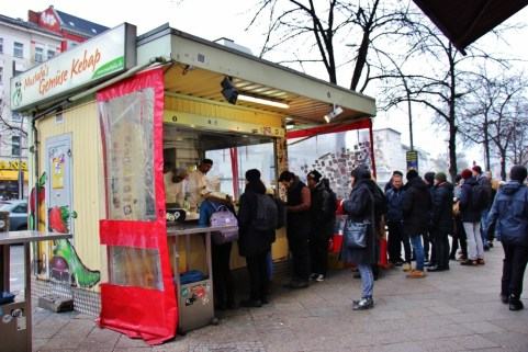 Long line at Mustafa's Kebab shop in Berlin, Germany