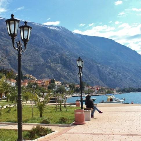 Seaside promenade on Bay of Kotor, Montenegro