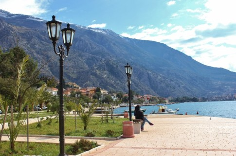 Seaside promenade on Bay of Kotor, Montenegro