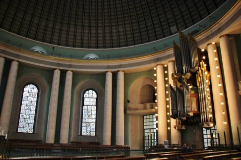 Organ and domed ceiling at St. Hedwig's Catholic Cathedral in Berlin, Germany