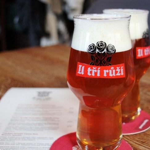 Beers at Brewery U Tri Ruzi, Prague, Czech Republic