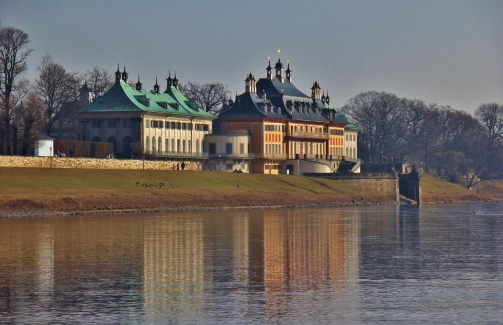 Pillnitz Castle on the Elbe River in Dresden, Germany