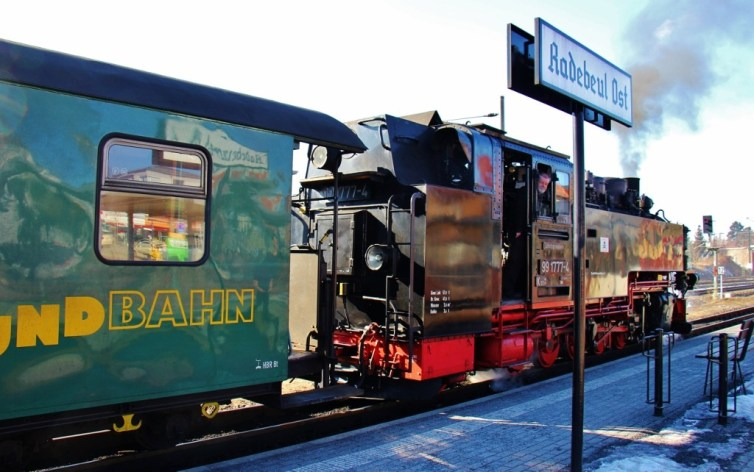 Classic steam train at Radebeul Ost station near Dresden, Germany