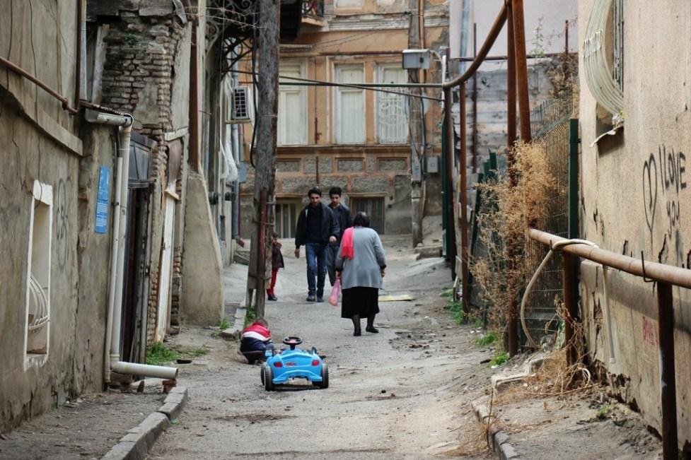 People on a street in Tbilisi, Georgia
