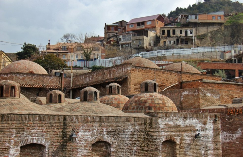 Brick domes of the Abanotubani Bathhouses in Tbilisi, Georgia