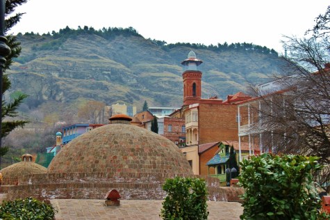 Brick bathhouse dome and Tbilisi Mosque, Tbilisi, Georgia