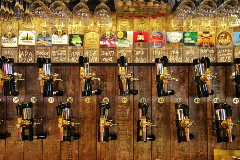 Beer Taps at craft beer multitap bar Piw Paw in Warsaw, Poland