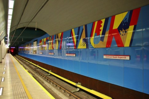 Colorful, new Centrum Nauki Kopernik Metro Station in Warsaw, Poland