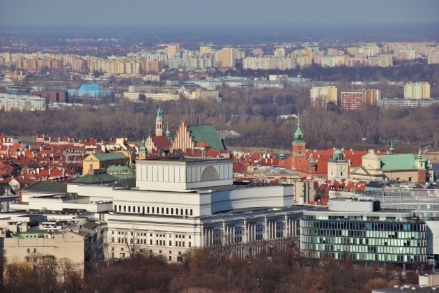 Old Town View from the Palace of Culture and Science in Warsaw, Poland