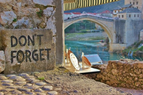 Don't Forget stone near Old Bridge in Mostar, Bosnia-Herzegovina