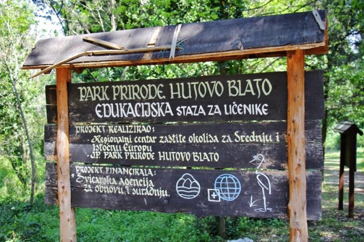 Sign at Hutovo Blato Nature Park near Mostar, Bosnia-Herzegovina