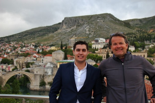 Posing by the Old Bridge in Mostar, Bosnia-Herzegovina