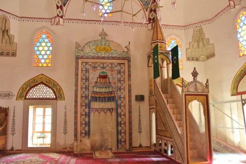 Minbar and prayer room inside Koski Mehmet-Pasha Mosque in Mostar, Bosnia-Herzegovina