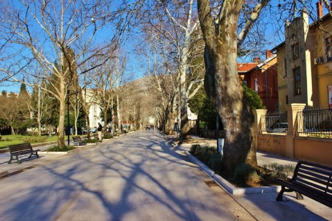 Wide neighborhood street in Mostar, Bosnia-Herzegovina