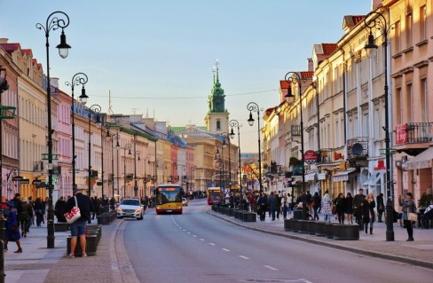 Colorful Nowy Swiat in Warsaw, Poland