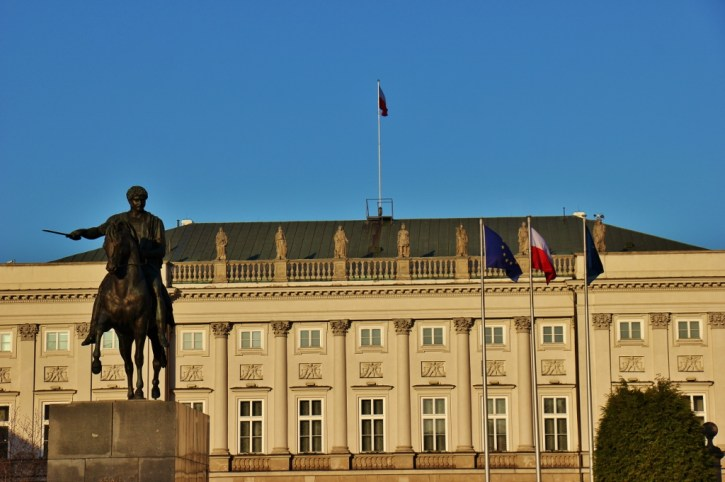 Presidential Palace and Equestrian Statue in Warsaw, Poland