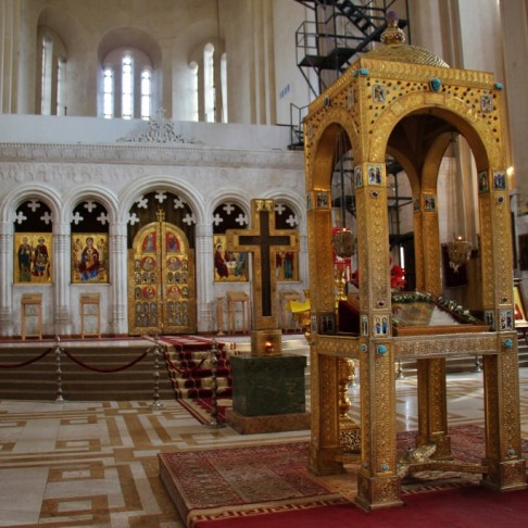 Altar inside Holy Trinity Sameba Cathedral, Tbilisi, Georgia