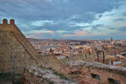 City view at sunset from Narikala Fortress, Tbilisi, Georgia