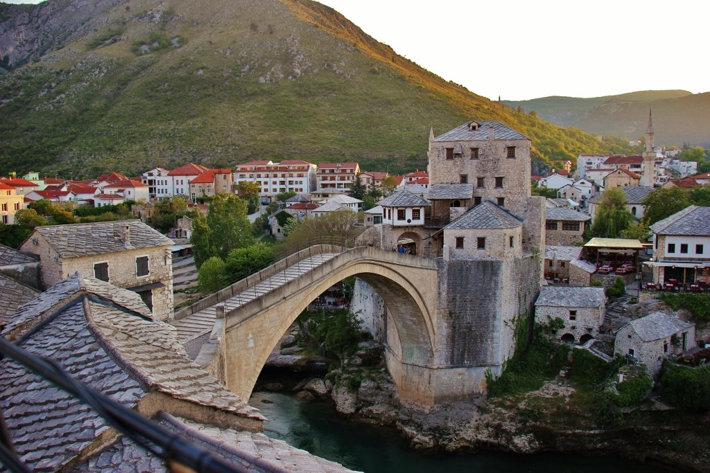 Old Bridge at sunset from Terasa Bar in Mostar, Bosnia-Herzegovina