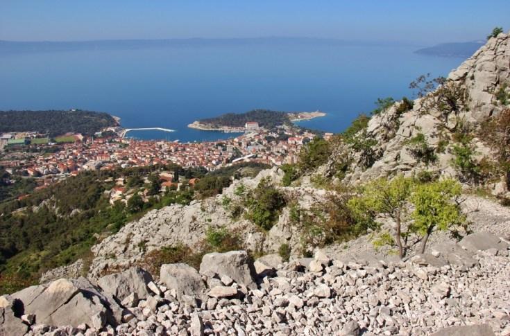 Hiking trail on Biokovo Mountain and city view, Makarska, Croatia