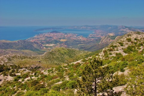 View of city while hiking Mosor Mountain, Split, Croatia