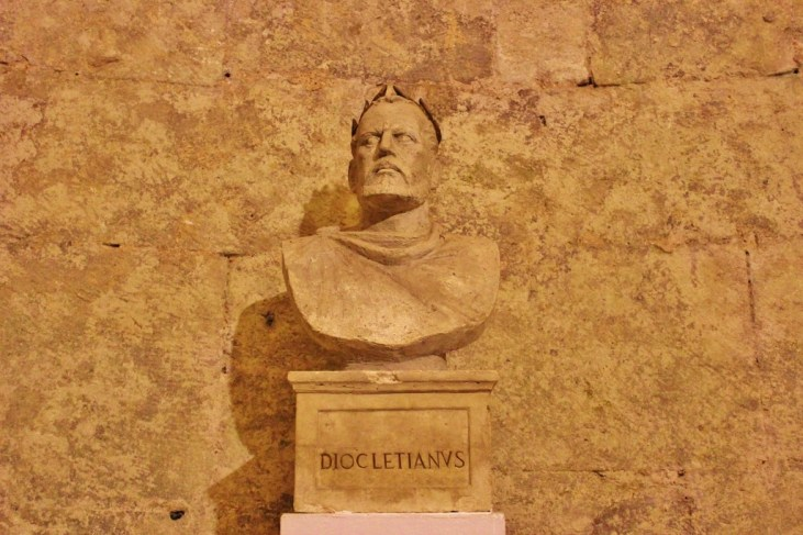 Bust of Diocletian in Split, Croatia
