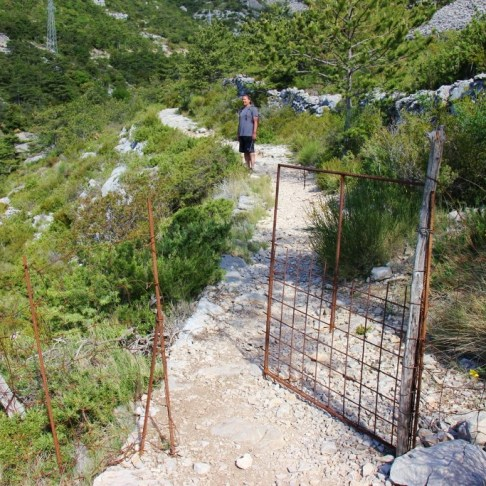 Metal gate on Vidova Gora trail on Brac, Croatia