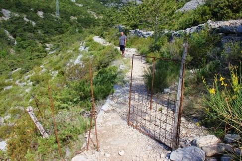 Metal gate on Vidova Gora trail on Brac, Croatia