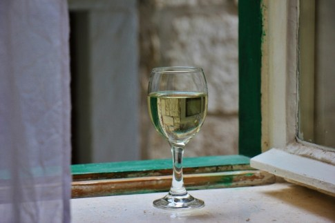 Glass of white wine in Apartment Herc in Split, Croatia