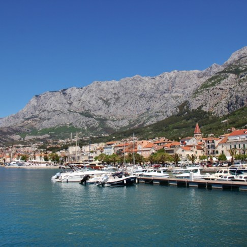 Harbor and Biokovo Mountains, Makarska, Croatia