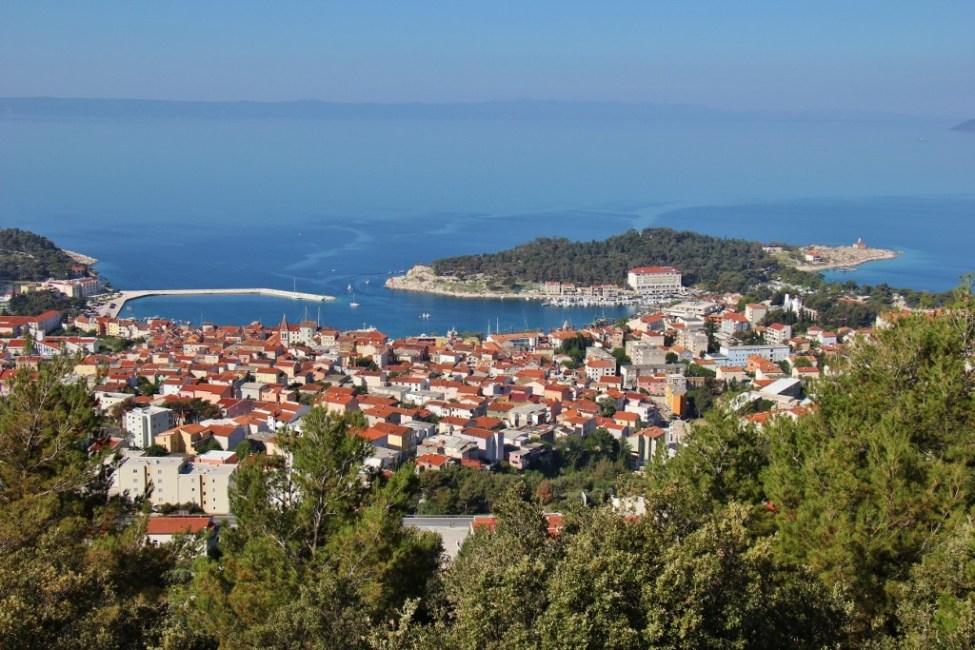 View of Makarska from Biokovo Mountain trail, Makarska, Croatia