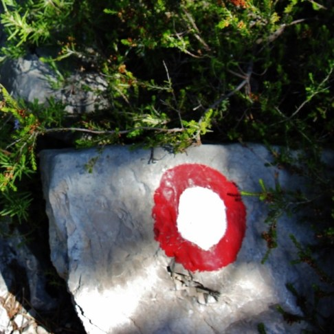 Red and white circle trail marker on Vidova Gora, on Brac, Croatia