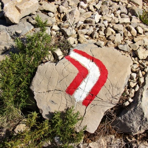Red and white trail marker on Vidova Gora, on Brac, Croatia