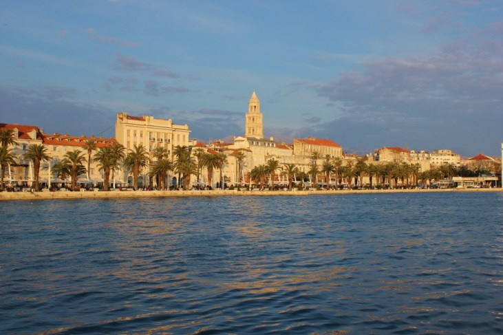 Sun setting on Split, Croatia