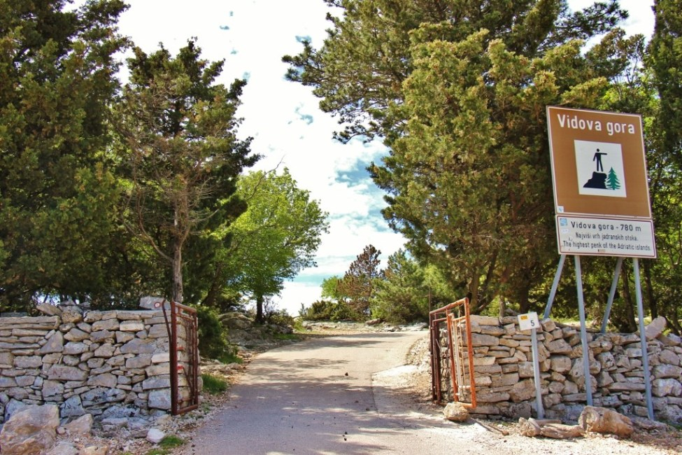 Vidova Gora peak park entrance, on Brac, Croatia