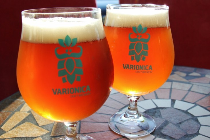 Two glasses of Varionica Craft Beer, Makarska, Croatia