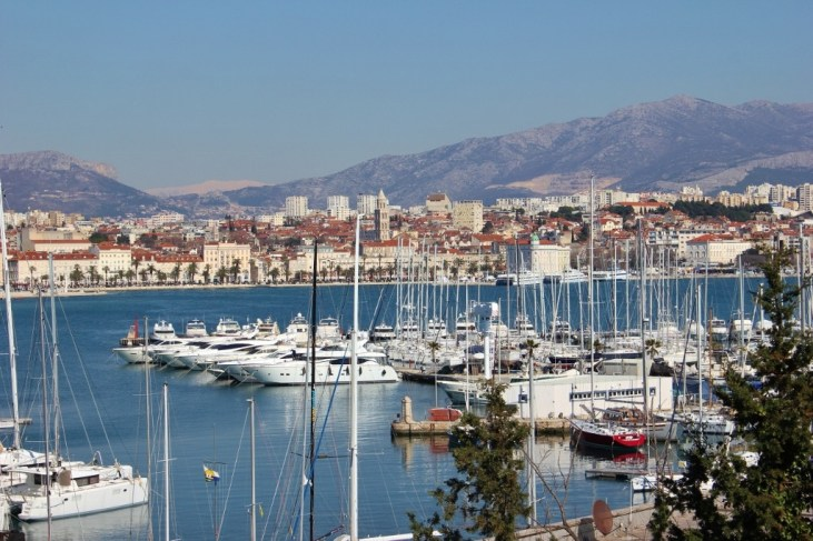 View of marina and Split from Sustipan Park, Split, Croatia