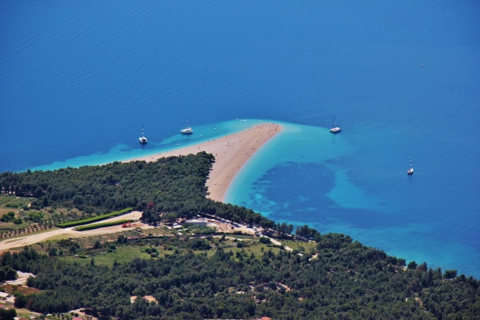 Zlatni Rat Beach from Vidova Gora Peak, Bol, Brac, Croatia